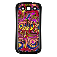 Abstract Shimmering Multicolor Swirly Samsung Galaxy S3 Back Case (black) by designworld65