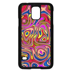 Abstract Shimmering Multicolor Swirly Samsung Galaxy S5 Case (black) by designworld65