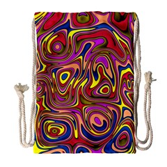 Abstract Shimmering Multicolor Swirly Drawstring Bag (large) by designworld65