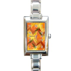 Fall Colors Leaves Pattern Rectangle Italian Charm Watch by DanaeStudio