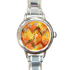 Fall Colors Leaves Pattern Round Italian Charm Watch by DanaeStudio