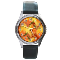 Fall Colors Leaves Pattern Round Metal Watch by DanaeStudio