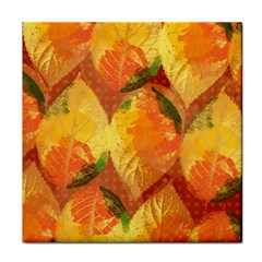 Fall Colors Leaves Pattern Tile Coasters by DanaeStudio