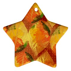 Fall Colors Leaves Pattern Ornament (star)  by DanaeStudio