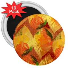 Fall Colors Leaves Pattern 3  Magnets (10 Pack)  by DanaeStudio