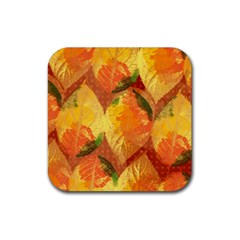 Fall Colors Leaves Pattern Rubber Coaster (square)  by DanaeStudio