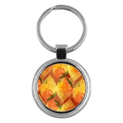 Fall Colors Leaves Pattern Key Chains (round)  by DanaeStudio