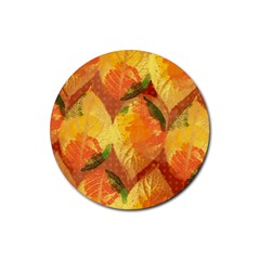 Fall Colors Leaves Pattern Rubber Round Coaster (4 Pack)  by DanaeStudio