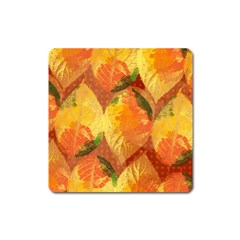Fall Colors Leaves Pattern Square Magnet by DanaeStudio