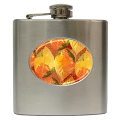 Fall Colors Leaves Pattern Hip Flask (6 Oz) by DanaeStudio