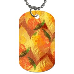 Fall Colors Leaves Pattern Dog Tag (two Sides) by DanaeStudio