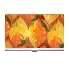 Fall Colors Leaves Pattern Business Card Holders by DanaeStudio
