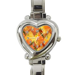 Fall Colors Leaves Pattern Heart Italian Charm Watch by DanaeStudio