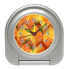Fall Colors Leaves Pattern Travel Alarm Clocks by DanaeStudio