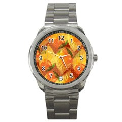 Fall Colors Leaves Pattern Sport Metal Watch by DanaeStudio