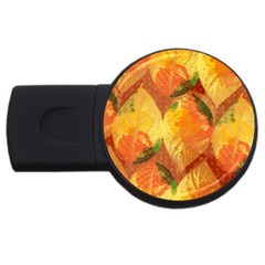 Fall Colors Leaves Pattern Usb Flash Drive Round (4 Gb)  by DanaeStudio