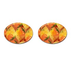 Fall Colors Leaves Pattern Cufflinks (oval) by DanaeStudio