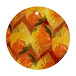 Fall Colors Leaves Pattern Round Ornament (Two Sides)  Back