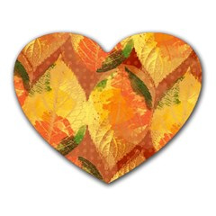Fall Colors Leaves Pattern Heart Mousepads by DanaeStudio