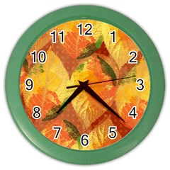 Fall Colors Leaves Pattern Color Wall Clocks by DanaeStudio