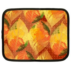Fall Colors Leaves Pattern Netbook Case (large) by DanaeStudio