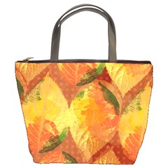 Fall Colors Leaves Pattern Bucket Bags by DanaeStudio