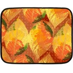 Fall Colors Leaves Pattern Double Sided Fleece Blanket (Mini)  35 x27  Blanket Back