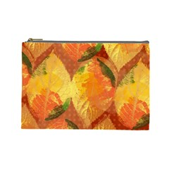 Fall Colors Leaves Pattern Cosmetic Bag (large)  by DanaeStudio