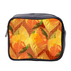 Fall Colors Leaves Pattern Mini Toiletries Bag 2 Side by DanaeStudio
