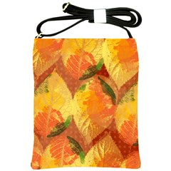 Fall Colors Leaves Pattern Shoulder Sling Bags by DanaeStudio