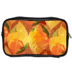 Fall Colors Leaves Pattern Toiletries Bags by DanaeStudio