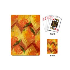 Fall Colors Leaves Pattern Playing Cards (mini)  by DanaeStudio