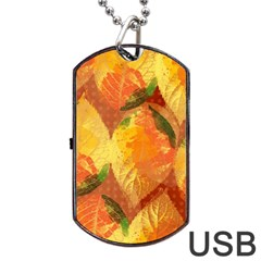 Fall Colors Leaves Pattern Dog Tag Usb Flash (two Sides)  by DanaeStudio