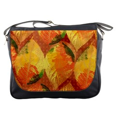 Fall Colors Leaves Pattern Messenger Bags by DanaeStudio