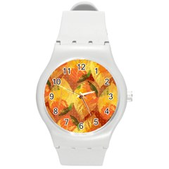 Fall Colors Leaves Pattern Round Plastic Sport Watch (m) by DanaeStudio