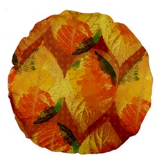 Fall Colors Leaves Pattern Large 18  Premium Round Cushions by DanaeStudio