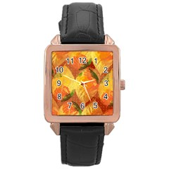 Fall Colors Leaves Pattern Rose Gold Leather Watch  by DanaeStudio