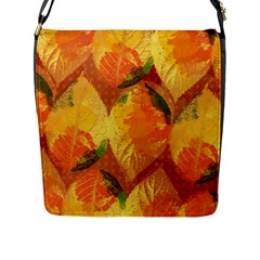 Fall Colors Leaves Pattern Flap Messenger Bag (l)  by DanaeStudio