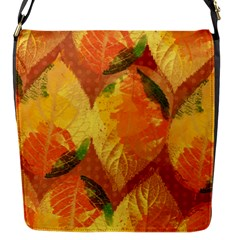 Fall Colors Leaves Pattern Flap Messenger Bag (s) by DanaeStudio