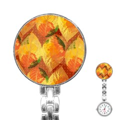 Fall Colors Leaves Pattern Stainless Steel Nurses Watch by DanaeStudio