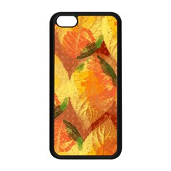 Fall Colors Leaves Pattern Apple Iphone 5c Seamless Case (black)