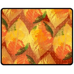 Fall Colors Leaves Pattern Double Sided Fleece Blanket (medium)  by DanaeStudio
