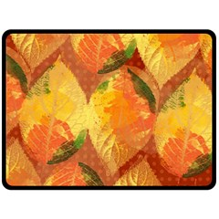Fall Colors Leaves Pattern Double Sided Fleece Blanket (large)  by DanaeStudio