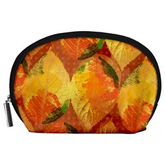 Fall Colors Leaves Pattern Accessory Pouches (large)  by DanaeStudio