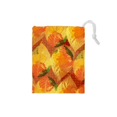 Fall Colors Leaves Pattern Drawstring Pouches (small)  by DanaeStudio