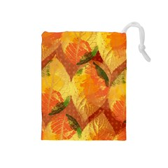 Fall Colors Leaves Pattern Drawstring Pouches (medium)  by DanaeStudio