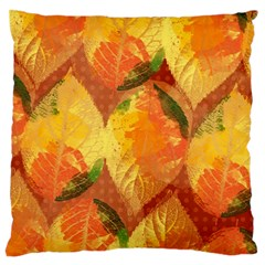 Fall Colors Leaves Pattern Large Flano Cushion Case (one Side) by DanaeStudio