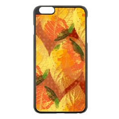 Fall Colors Leaves Pattern Apple Iphone 6 Plus/6s Plus Black Enamel Case by DanaeStudio