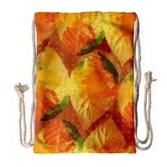 Fall Colors Leaves Pattern Drawstring Bag (large) by DanaeStudio