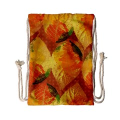 Fall Colors Leaves Pattern Drawstring Bag (small) by DanaeStudio